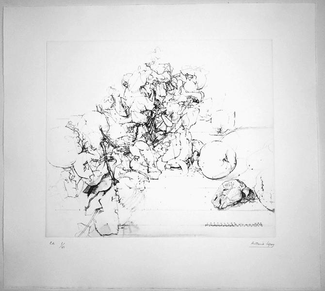 Membrillos, granadas y cabeza de conejo, 2011, aguafuerte, aguatinta y barniz blando sobre plancha de cobre, papel Gravar Art 320 gr. Tirada de 60 ejemplares. Huella: 45,5 x 52,5 cm. Papel: 65 x 72,5 cm.