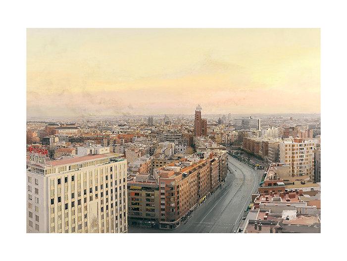 Antonio Lopez, estampación Madrid desde Torres Blancas