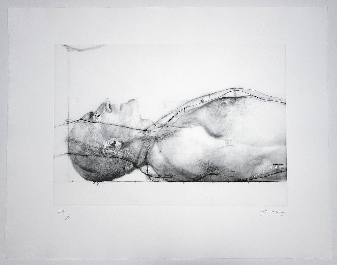 Man lying down, 2011, Engraving on photopolymer plate. Edition of 75 copies. Plate Mark: 33 x 56 cm. Paper: 60 x 77 cm.