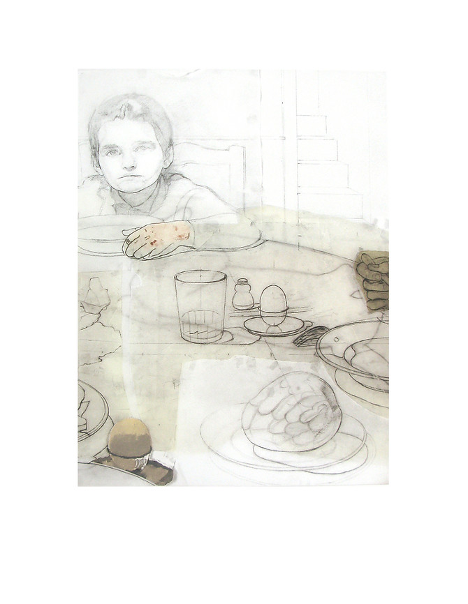 The Dinner 2, 2013, Engraving on a 5-color photopolymer plate + stencils with glaze + illuminated with airbrush. Edition of 76 copies