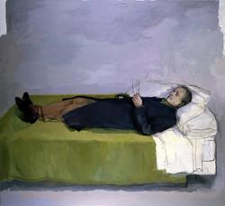 Antonio tumbado 1990-91, durante el rodaje de El sol del membrillo
