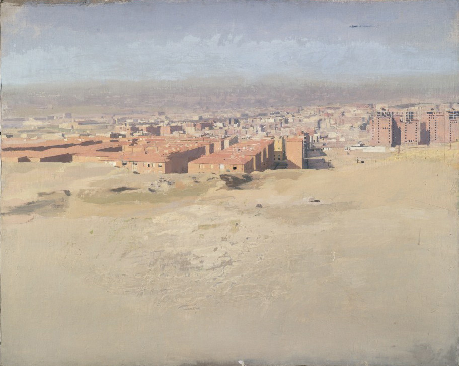 Vallecas, 1980-85, óleo sobre lienzo pegado a tabla