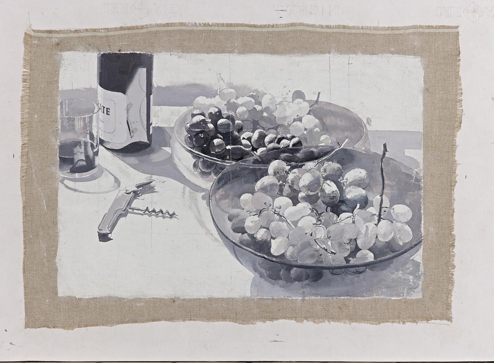 Antonio López, Mesa con uvas, 2016, óleo