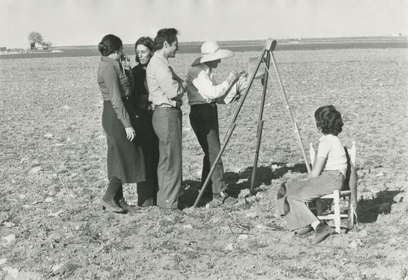 María Moreno, Isabel Quintanilla y Antonio López con Antonio López Torres, 1974