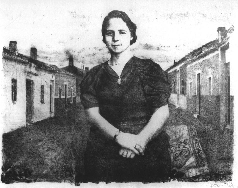 Mujer de Tomelloso,1961, litografía, papel. Tirada de 170 ejemplares. Huella: 35 x 50 cm.