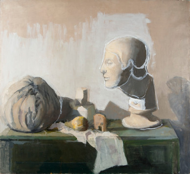María Moreno, Still Life with Pumpkin and Greek Head, h.2005