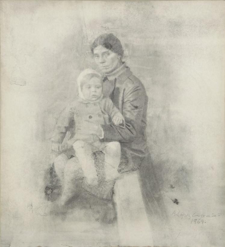 Elena Cárdenas con su hijo, 1969