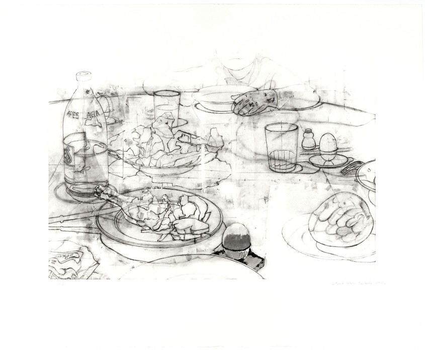 The Dinner 1, 2012, Engraving on four-color stamped photopolymer plate, 330 gr Somerset Radiant White paper. Edition of 75 copies. Plate mark: 41 x 58 cm, Paper: 61 x 74 cm