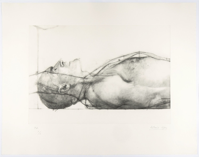 Man Lying Down. Francisco, 2011, Engraving on photopolymer plate, paper. Edition of 75 copies. Plate mark: 33 x 56 cm, Paper: 60 x 77 cm