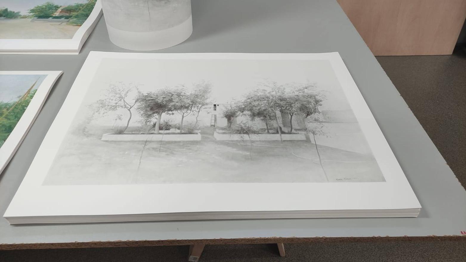 Impresión en el taller de las estampaciones de Jardín de Tomelloso