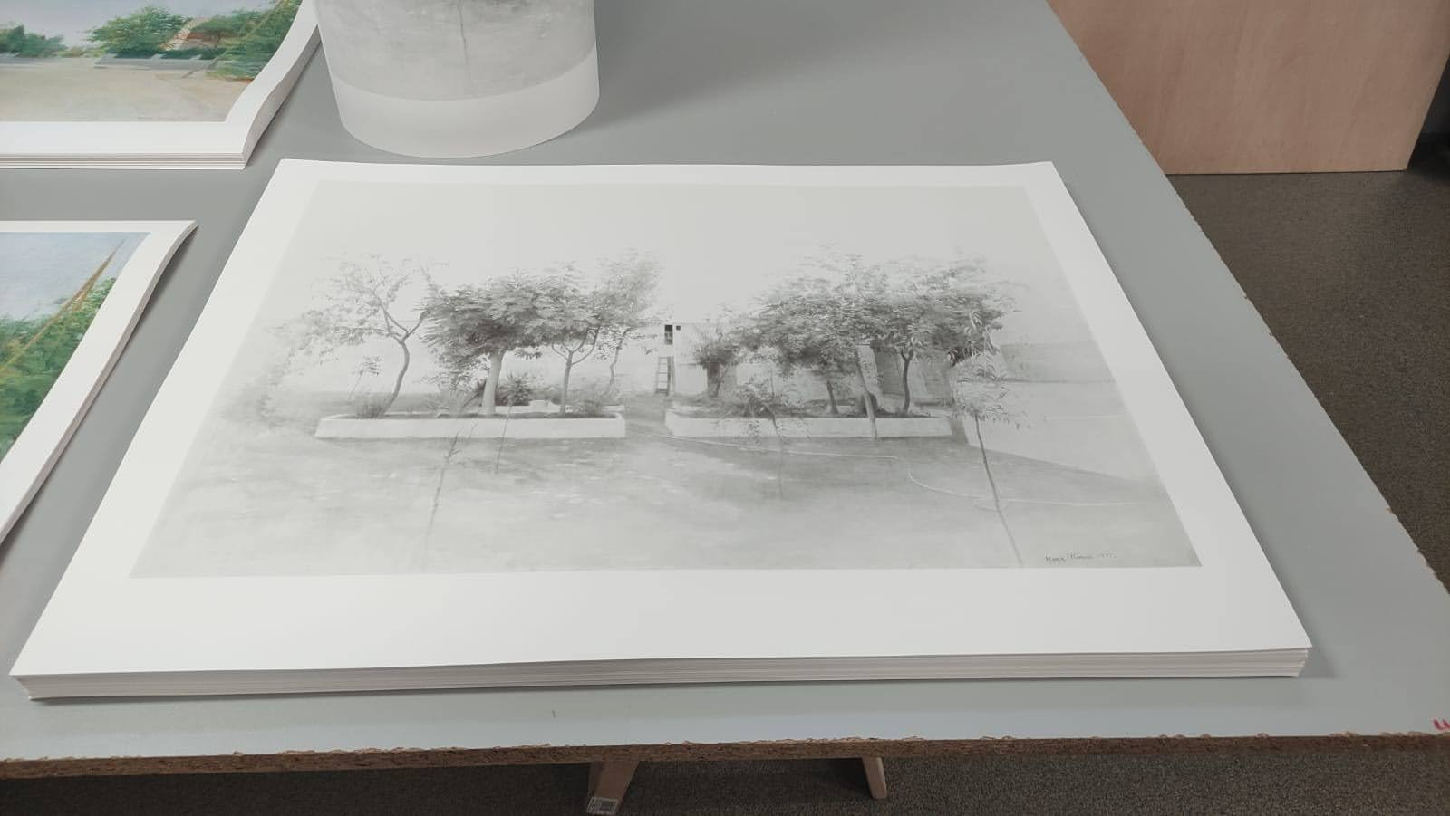 """Printing """"Tomelloso Garden""""  in the stamping workshop"""