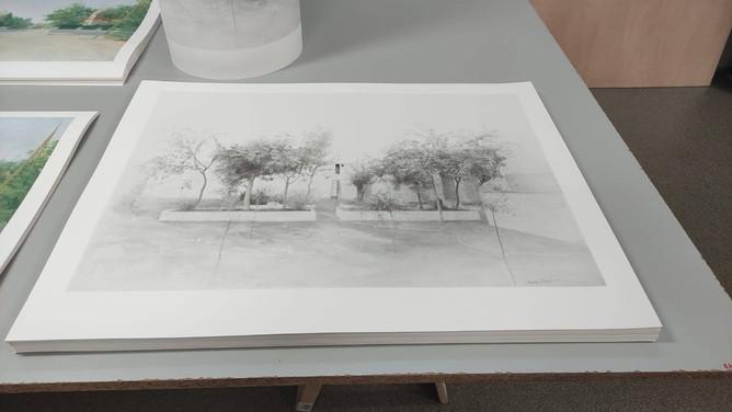 """Impresión en el taller de las estampaciones de """"Jardín de Tomelloso"""""""