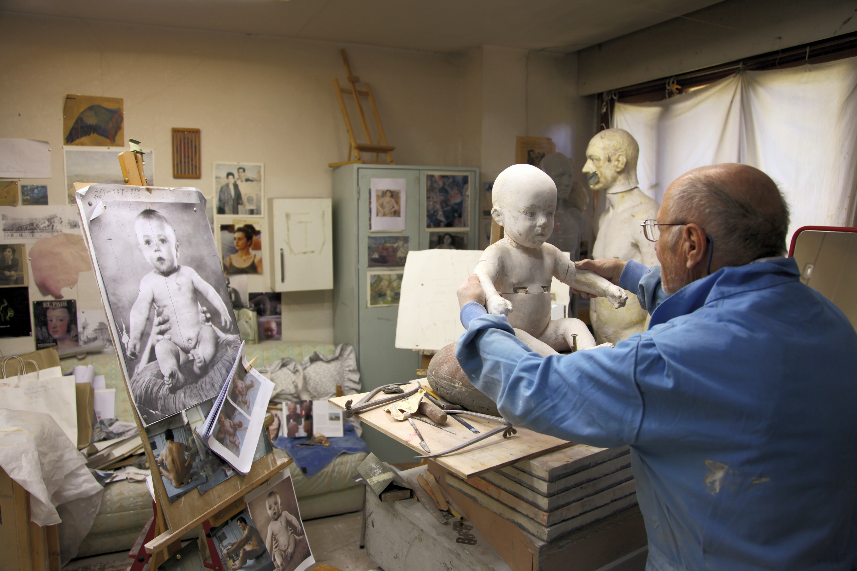 Working on his Baby Self-Portrait, 2015/2020, plaster