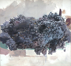 Antonio López, Uvas negras, 2016, óleo s