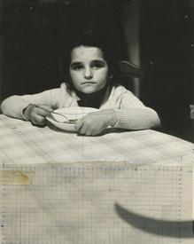 Carmen posing for the painting The Dinner, 1975.