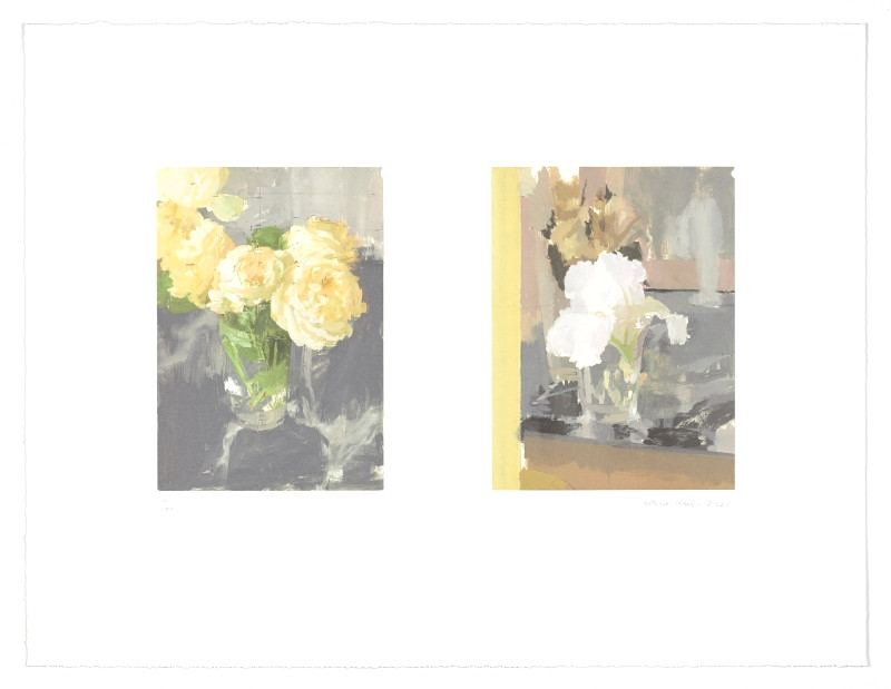 Winter Roses and White Lily Diptych, 2021, Etching, Lithograph, 300 gram BFK Rives Paper. Edition of 75 copies. Paper: 59.5 x 78 cm