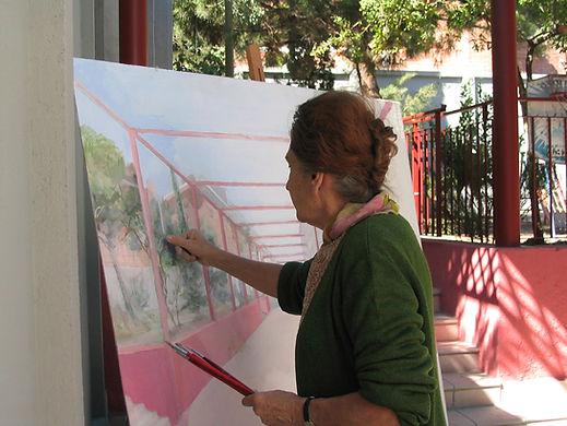 María_pintando_en_el_jardín,_septiembre_