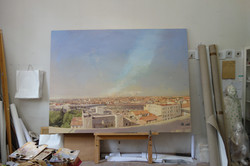 The new Madrid Sur, 2015-in process, oil on canvas, 183.2 x 245.6 cm
