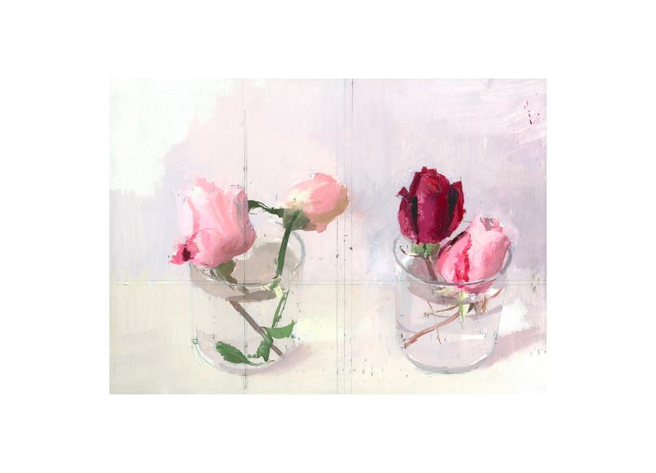 Rosas de invierno II, 2016, grabado realizado sobre 4 planchas de fotopolímero y se ha estampado en veintitrés colores sobre papel Hahnemühle; Tirada de 76 ejemplares. Huella: 23 x 32 cm; Papel:  44 x 51 cm.
