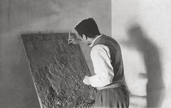 Modeling his first relief, 1955.