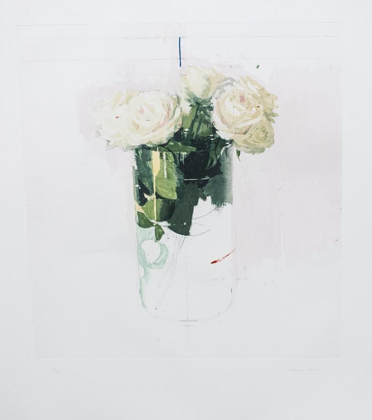 Rosa de Ávila, 2018, grabado sobre 4 planchas de fotopolímero sobre papel Hahnemühle. Edición de 76 ejemplares, Huella: 54 x 50,5 cm Papel: 78,8 X 72 cm.