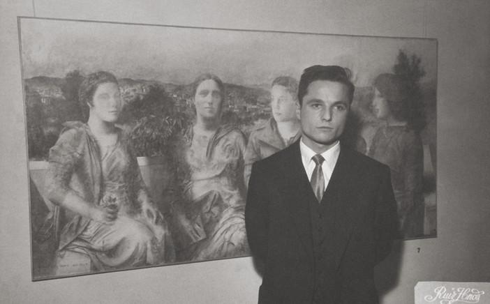En la inauguración de su primera exposición en el Ateneo de Madrid, diciembre de 1957.