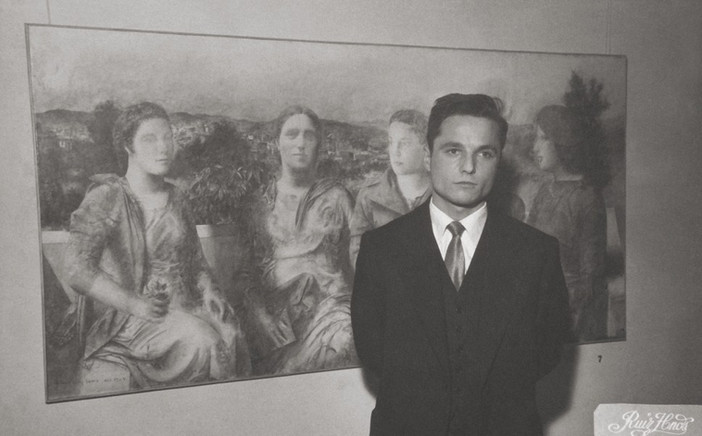 At the opening of his first exhibition at the Ateneo de Madrid, December 1957.