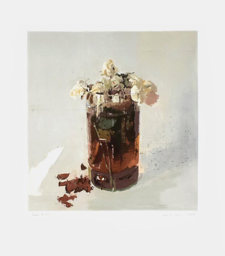 Rosas de Ávila II, 2019, grabado sobre 5 planchas de fotopolímero sobre papel Hahnemühle; Tirada de 76 ejemplares. Huella: 54 x 50,5 cm; Papel: 79 X 71 cm.