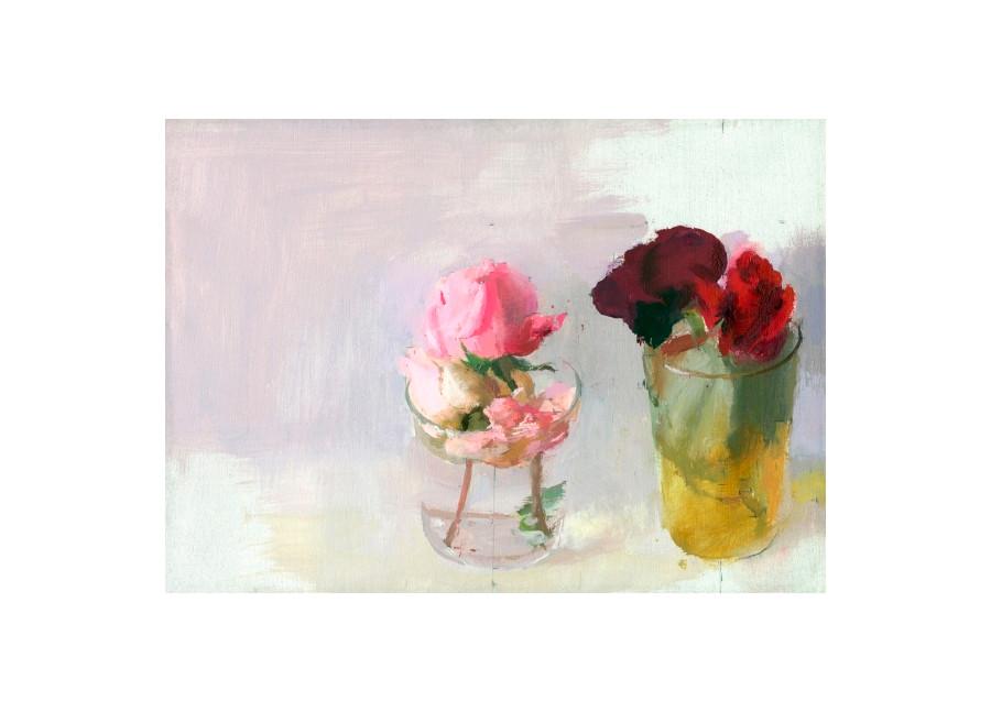 Rosas de invierno I, 2016, grabado realizado sobre 4 planchas de fotopolímero y se ha estampado en veintitrés colores sobre papel Hahnemühle. Edición de 76 ejemplares. Huella: 23 x 32 cm. Papel:  44 x 51 cm.