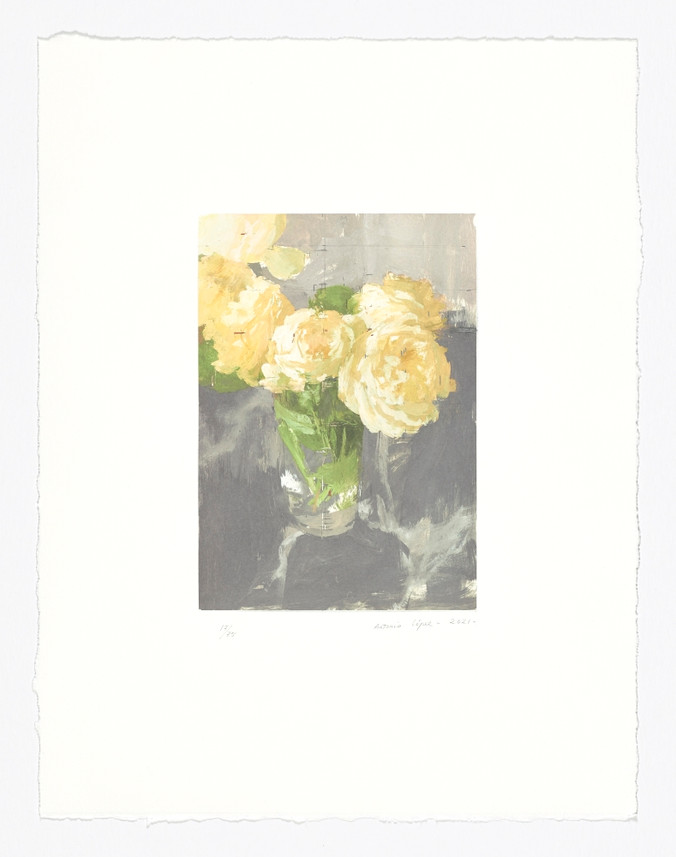 Rosas de invierno, 2021, litografía y aguafuerte, papel BFK Rives de 300 gramos. Tirada de 75 ejemplares. Huella: 30 x 21 cm; Papel: 58,5 x 45 cm.