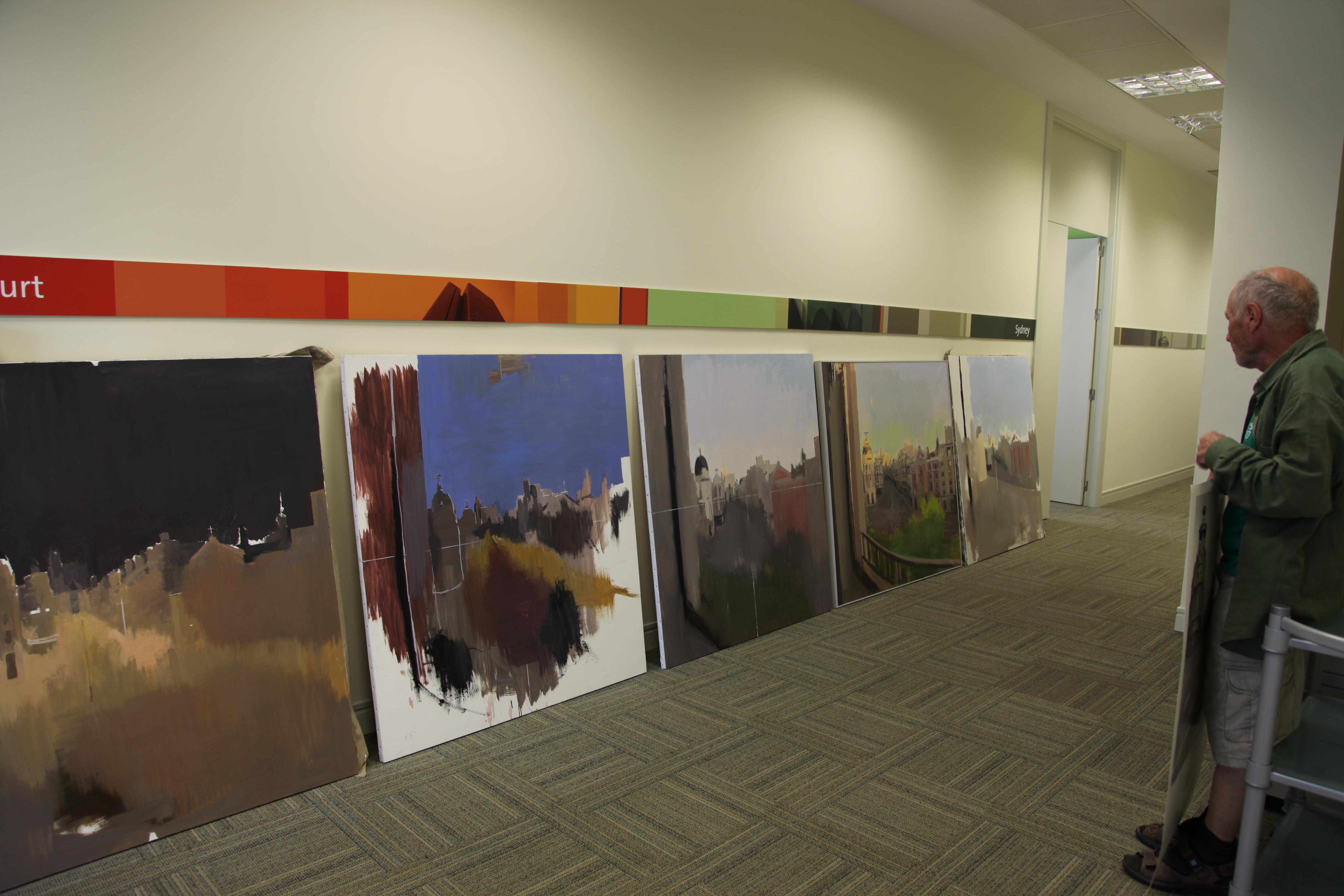 Pinturas de la Gran Vía a distintas horas