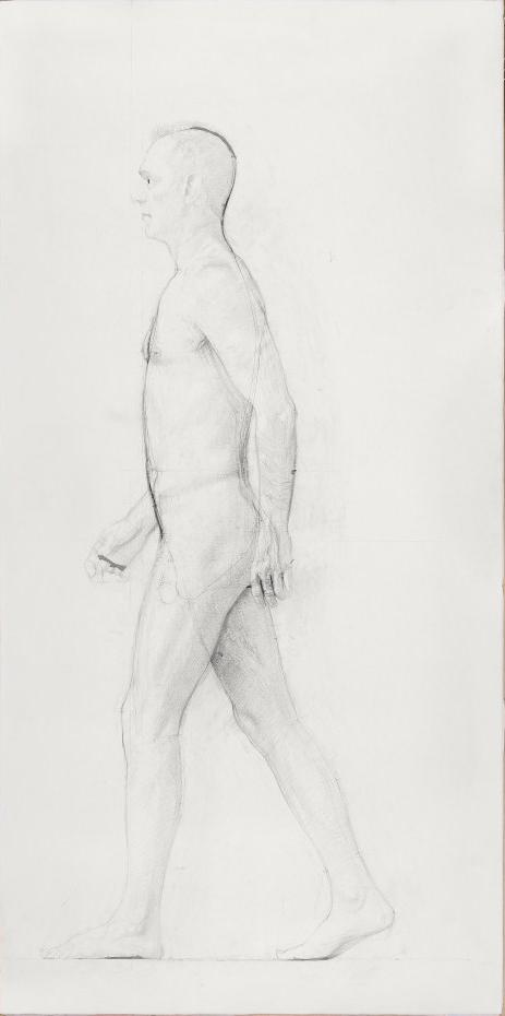 "Dibujo de escultura ""Hombre andando"""