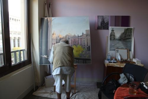Pintando Gran Vía, 1 agosto, 7.30h,