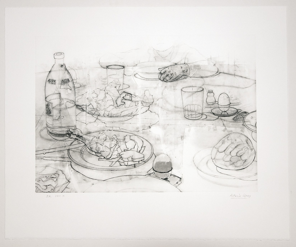 The Dinner 1, 2012, Engraving on four-colour stamped photopolymer plate. 330 g Somerset Radiant White paper. Edition of 75 copies. Plate Mark: 41 x 58 cm, Paper: 61 x 74 cm.