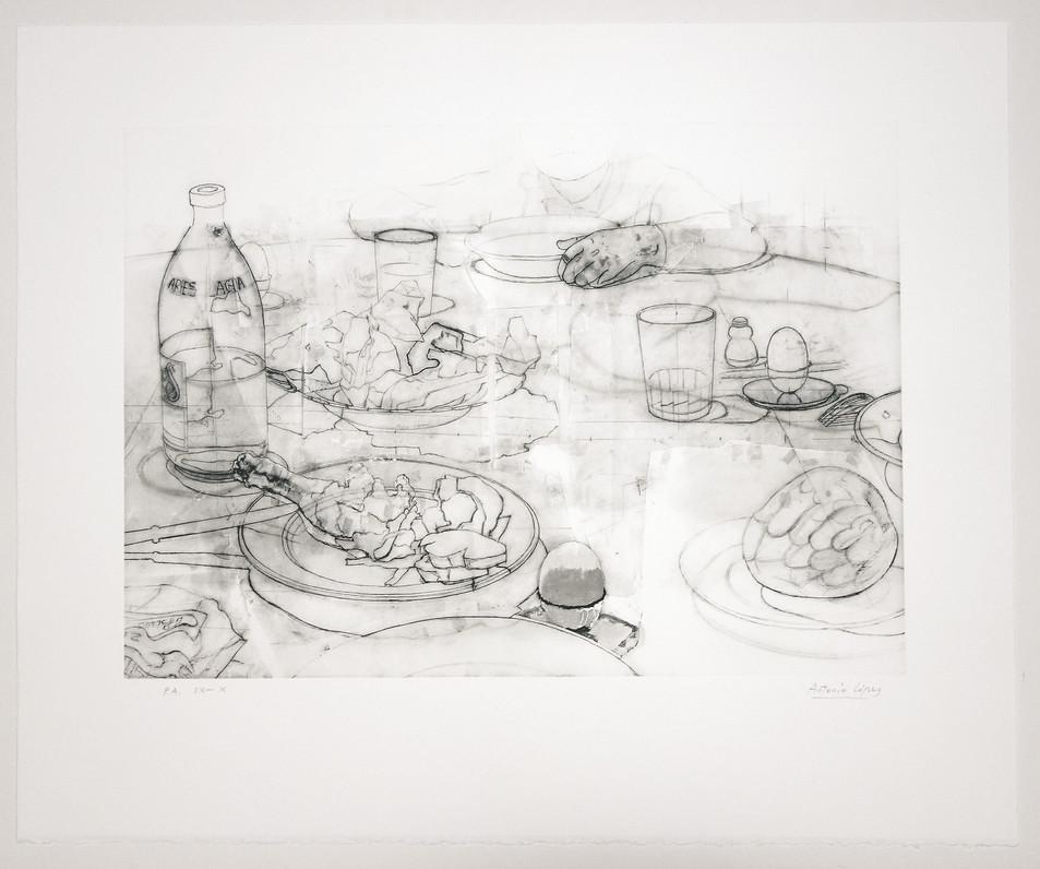 La cena 1, 2012, grabado sobre plancha de fotopolímero estampado a cuatro colores, papel Somerset Radiant White de 330 gr. Tirada de 75 ejemplares. Huella: 41 x 58 cm, Papel: 61 x 74 cm.