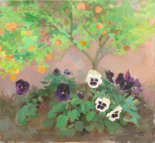 María Moreno, Pansies and Chinese orange tree, 2004