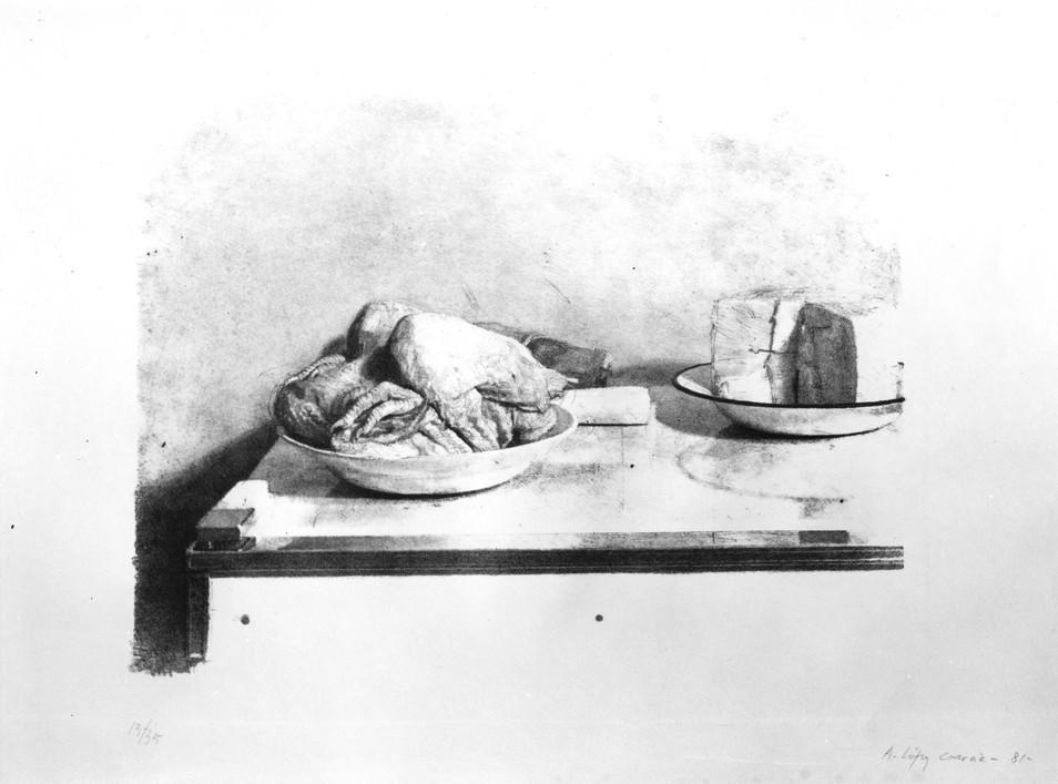 Bodegón del pollo, 1981, litografía, papel. Tirada de 35 ejemplares. Huella: 35,3 x 49,3 cm.