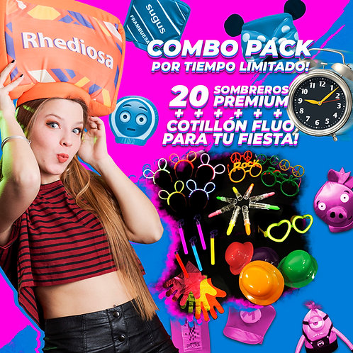 Pack 20 Sombreros + Cotillón Fluo