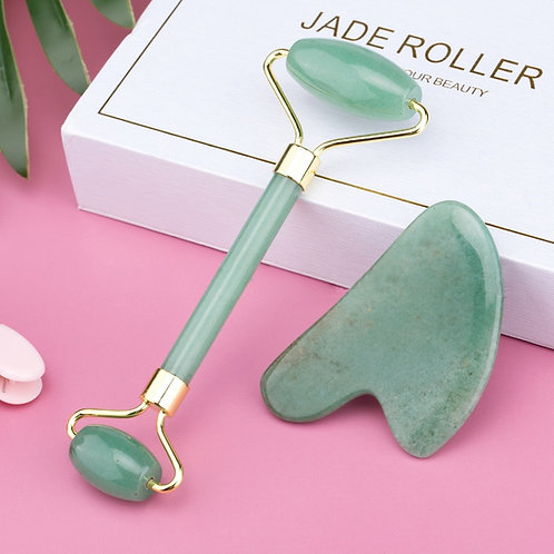 Rose Quartz Jade Rolle Face Massager- Natural Stone Crystal
