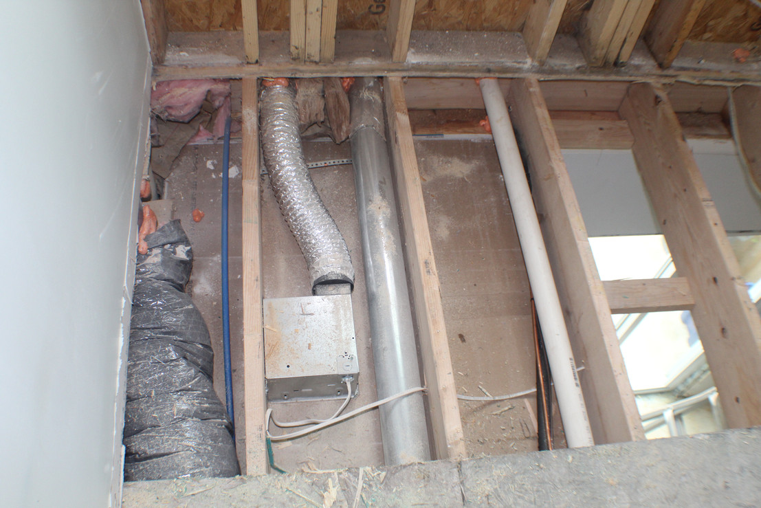 Additional picture from the second floor bedroom area. This is the main area of water infiltration that was coming in and settling on the first floor and basement levels.