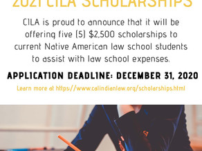 $2,500 California Indian Law Association Scholarship | Deadline: December 31, 2020