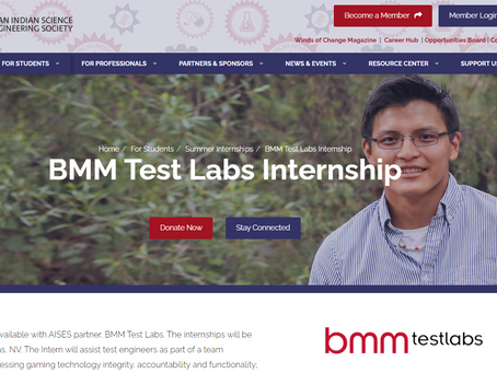 Internship Opportunity: AISES BMM Test Labs Internship | Deadline January 31st, 2020