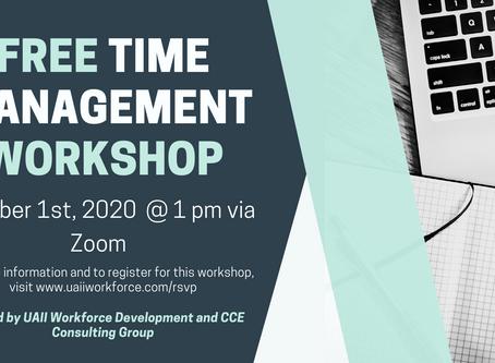 Time Management Workshop, October 1st, 2020 @ 1pm