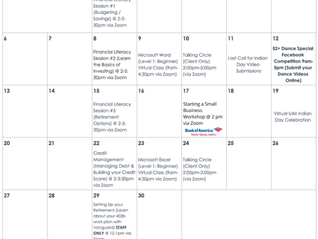 September 2020 Monthly Calendar