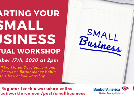 Starting a Small Business Free, Online Workshop September 17th, 2020 @ 2pm