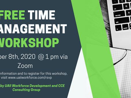 Free Time Management Workshop on October 8th, 2020