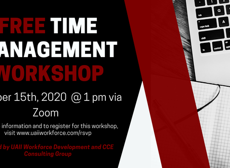 Free Time Management Workshop, October 15th, 2020 @ 1 pm
