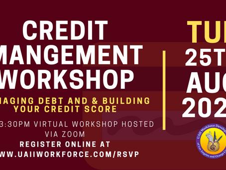 Credit Management Workshop | August 25th, 2020 @ 2pm