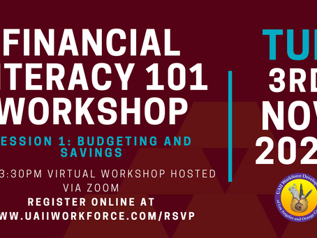 Financial Literacy 101 Workshop (Session 1, Budgeting and Savings) 11/3/2020 @ 2 pm