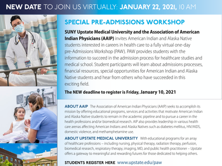 Workshop Opportunity: SUNY Upstate Medical University Pre-Admissions Workshop